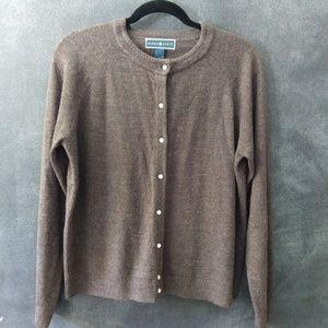 KAREN SCOTT   Crew Neck Cardigan Sweater Size LG